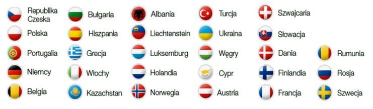 Albania, Austria, Belgia, Bułgaria, Czechy,Cypr,DaniaFinlandiaFrancja, Grecja, Hiszpania, Holandia, Kazachstan,Luksemburg, Niemcy,Norwegia, Polska,Portugalia,Rumunia, Rosja,Szwecja, Szwajcaria,Słowacja, Turcja, Ukraina, Węgry,Włochy.